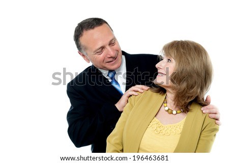 Portrait of senior smiling love couple - stock photo