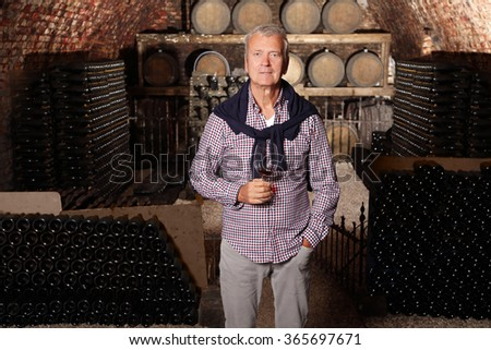 Portrait of senior winemaker holding in hand a glass of red wine while standing at wine cellar background with barrels.  - stock photo