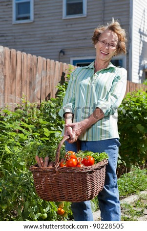 Portrait of senior woman holding heavy basket filled with vegetables - stock photo