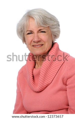 Portrait of senior woman isolated over a white background - stock photo