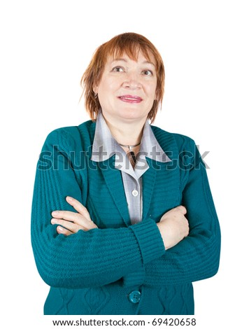 portrait of senior woman. Isolated over white