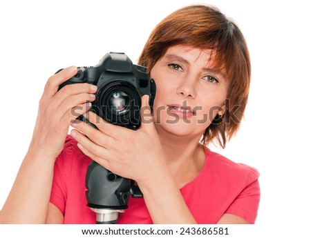 Portrait of senior woman portrait with camera. isolated over white background