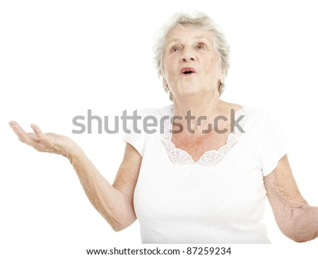 portrait of senior woman praying over white background