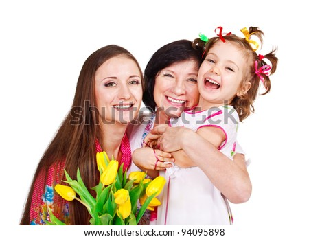 Portrait of senior, young and little female - stock photo