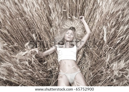 Portrait of sensual blond girl in wheat - stock photo