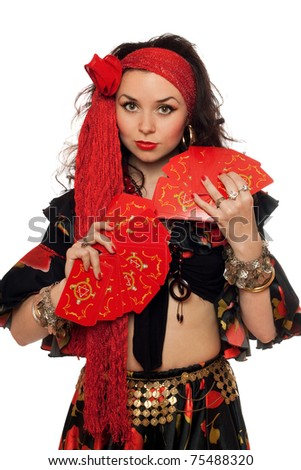 Portrait of sensual gypsy woman with cards. Isolated on white