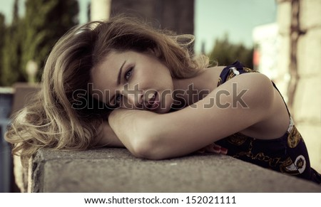 Portrait of sensual woman - stock photo