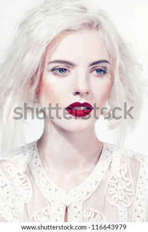 Portrait of sensual woman model with fashion bright red lips and beautiful makeup - stock photo