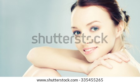 Portrait of sensual young brunette woman. - stock photo