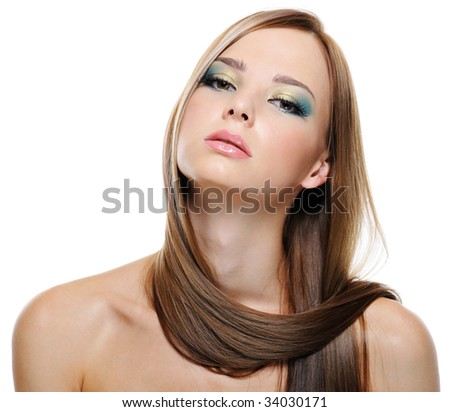 Portrait of sensuality and beauty of young pretty girl with straight  hair - stock photo