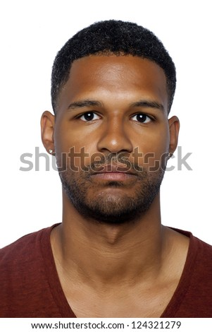 Portrait of serious black man looking at the camera