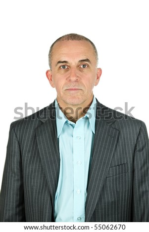 Portrait of serious businessman isolated on white background - stock photo