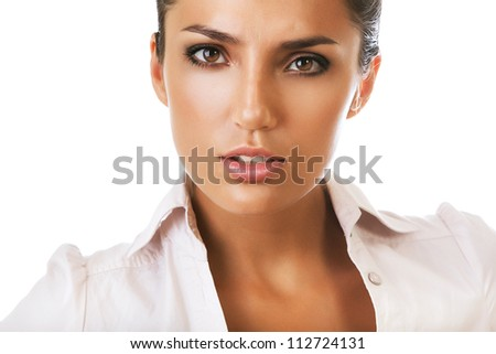 portrait of serious businesswoman on white background - stock photo