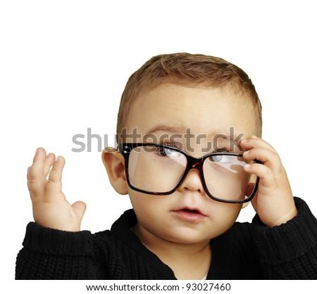 portrait of serious kid wearing glasses and doing a gesture over white - stock photo