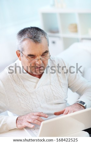 Portrait of serious mature man working with laptop - stock photo