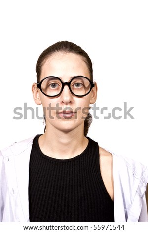 portrait of serious student girl in round glasses