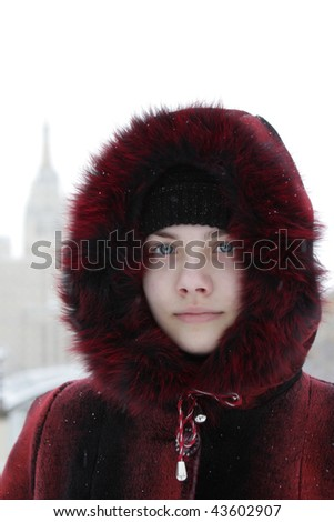 Portrait of serious teen outdoor in winter
