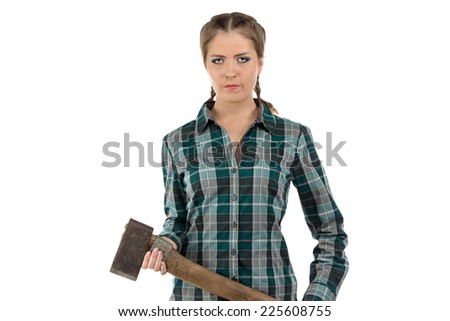 Portrait of serious woman with axe on white background - stock photo