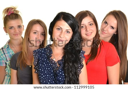 portrait of several happy young women. isolated on white background - stock photo