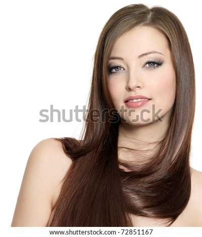 Portrait of sexy beautiful girl with long hair - isolated on white background - stock photo