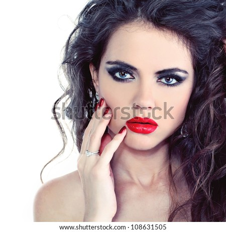 Portrait of sexy beautiful woman with bright make-up and curl hairs - stock photo