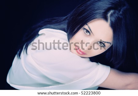 Portrait of sexy beautiful young brunette woman