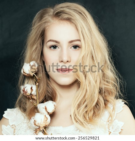 Portrait of sexy blonde closeup - stock photo