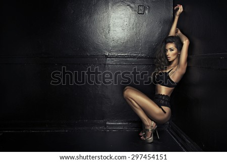 Portrait of sexy brunette woman wearing sensual lingerie - stock photo