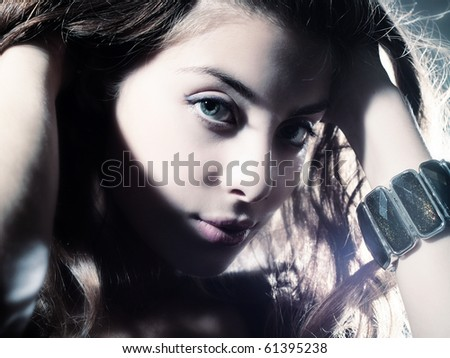Portrait of sexy caucasian young woman - stock photo