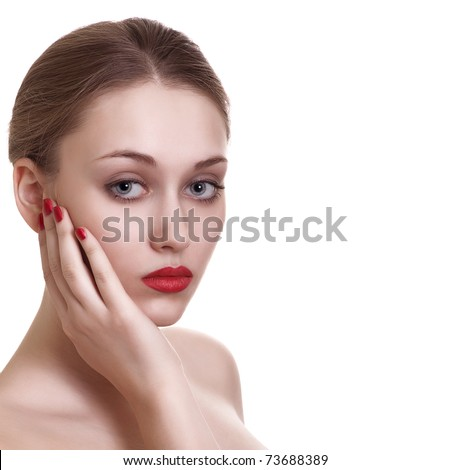 portrait of sexy caucasian young woman with red bright manicure - stock photo