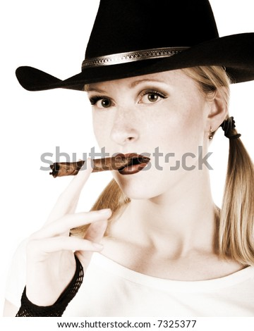 portrait of sexy cowgirl with cigar in white background - stock photo