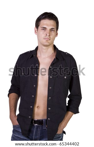 Portrait of sexy male model  isolated on white background - stock photo