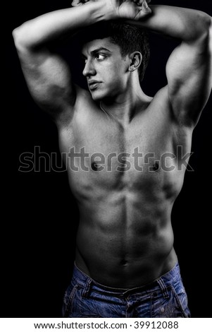 Portrait of sexy muscular man with healthy body - stock photo