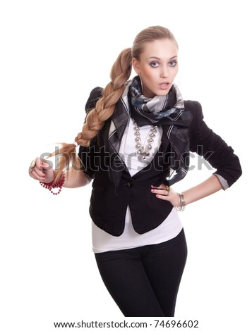 portrait of sexy woman in black jacket with bijouterie