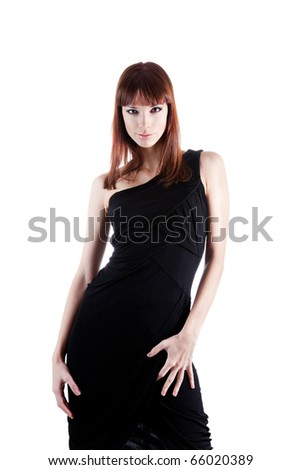 Portrait of sexy woman in elegant dress, isolated on white background - stock photo