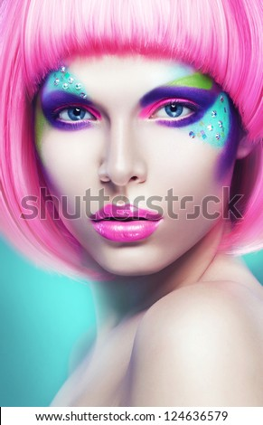 portrait of sexy woman in pink wig - stock photo