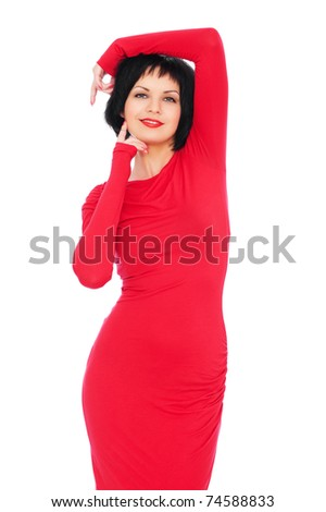 portrait of sexy woman in red dress. isolated on white