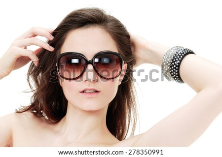 portrait of sexy woman in sunglasses - stock photo
