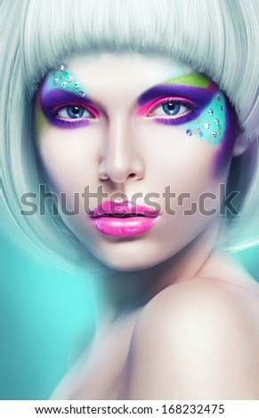 portrait of sexy woman in white wig - stock photo