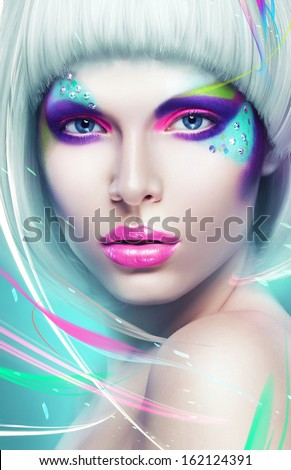 portrait of sexy woman in white wig and lines - stock photo
