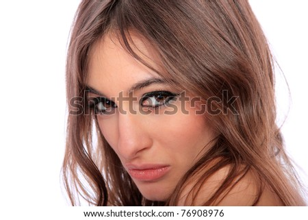 Portrait of sexy woman isolated on white background