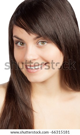 Portrait of sexy woman, on white background - stock photo