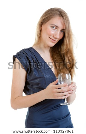 portrait of sexy young woman in a blue dress with glass of water - stock photo