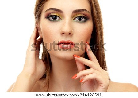 Portrait of sexy young woman with glamour make up and orange manicure - stock photo