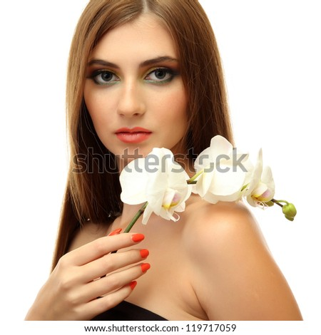 portrait of sexy young woman with white orchid flower, isolated on white - stock photo