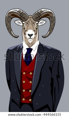 Portrait of sheep in a man's business suit