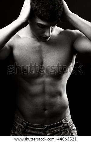 Portrait of shirtless sexy muscular man