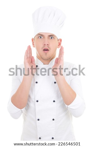 portrait of shocked man in chef uniform isolated on white background - stock photo