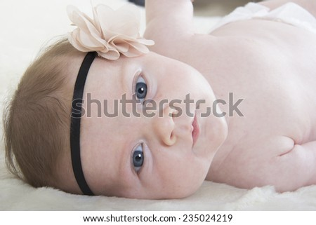 portrait of shy baby girl - stock photo