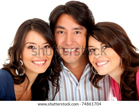 Portrait of siblings smiling - isolated over a white background - stock photo